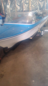 14 foot fiberglass boat and trailer