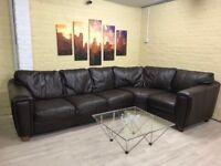 Big Brown Leather Corner Sofa