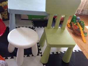 Various Kids Items - table, bumper, change pad cover