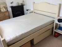 Lovely wooden double bed frame with under bed drawers