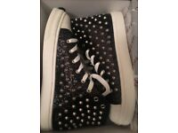 Size 7/40 Black Studded Sparkly High Top Ladies Trainers