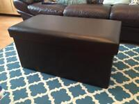 Large brown faux leather ottoman