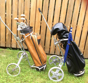 Golf Clubs with cart. Two sets for sale.