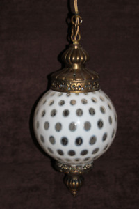 Fenton Honeysuckle Opalescent Coin Dot Ceiling Lamp