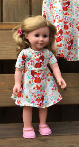 Doll and Big Girl Dresses in Fox Print Fabric