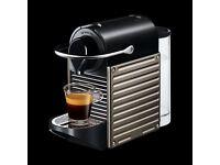 KRUPS NESPRESSO PIXIE TITANIUM COFFE MACHINE -TAKES NESPRESSO PODS/CAPSULES IN VGC