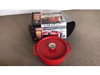 Pyrex SlowCook Cast iron red round Casserole - compatible with oven and induction hobs - 24 cm