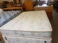 Myers double divan base and mattress set with 4 drawers