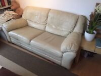 Free beige leather sofa! Only condition is that you need to pick up from Earls Court