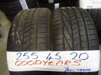 MATCHING PAIR 255 45 20 GOODYEARS 7MM TREAD £100 PAIR SUPP & FITD (loads more av}