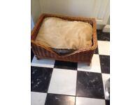 Large Dog Basket. Wicker. W80cm, D60cm, H40cm. New deep cushion.
