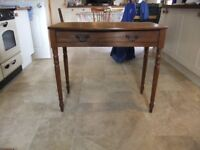 VICTORIAN HALL TABLE OR SIDE TABLE MADE OF SOLID OAK HAS 1 DRAWER IN GOOD CONDITION VARIOUS USES £95