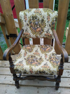 Antique Primitive Colonial Chair newer Upholstery Very Nice.