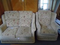 2 seat sofa and chair.