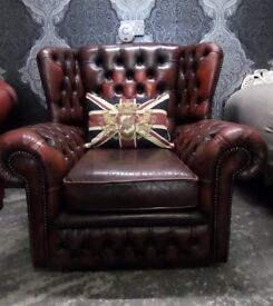 Stunning Chesterfield Monk Wing Back Chair Oxblood Red Leather UK Delivery