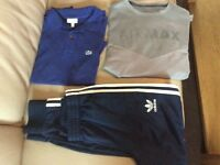 Lacoste boys polo shirt, Air Max long sleeve t-shirt & Adidas joggers age 13