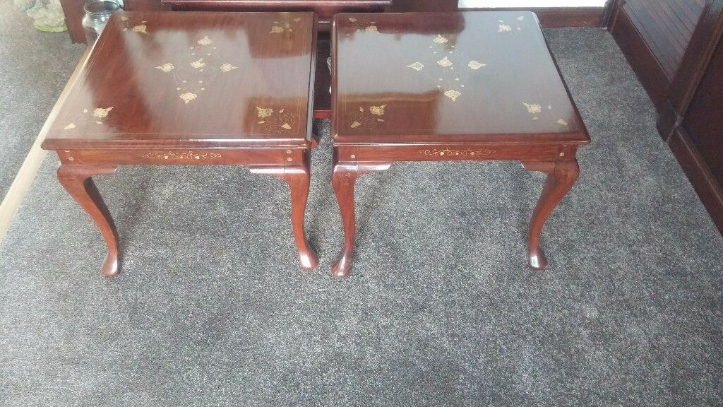 2 x tables rosewood with gold leaf pattern