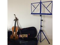 Stentor Violin, case, music stand shoulder rest
