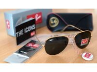 FREE DELIVERY TODAY! PAYPAL ACCEPTED ALSO! RAYBAN AVIATORS GOLD SUNGLASSES outdoor camping fishing