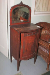 Antique Music Cabinet with beveled glass mirror 21x16x55