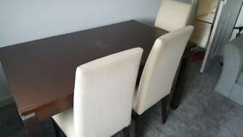 Walnut Table & x 6 Chairs