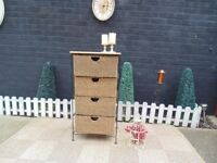 BLACK METAL CHEST OF DRAWERS WITH PINE TOP AND RATTAN DEEP DRAWERS VERY HEAVY UNIT