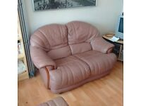Soft Leather Sofas and Foot Stool - Quality and Comfortable