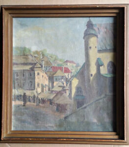 Vintage Original Oil Painting of Prague Old Town 19 x 20 inches