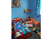 Lightning McQueen toddler bed and accessories