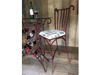 Vintage Retro Upcycled Metal Breakfast Bar with 2 Stools Glass Table Top and Built in Wine Rack