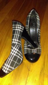 Plaid black patent toe heels