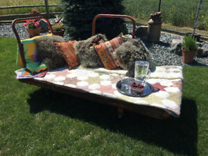 Patio decorating idea - industrial cart as lounge, or... ?