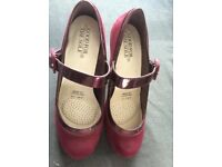 Dark Red Suedette and Patent Shoes