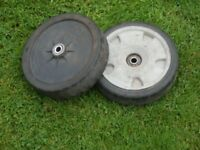 Honda HRX426 parts. Pair of front wheels. Left rear plastic chain cover. Pair handle locking clamps