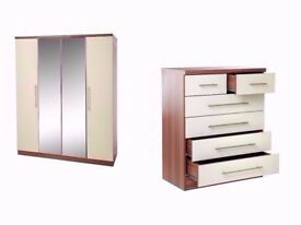 NEW 4 Door High Gloss Mirror Wardrobe and 4+2 Drawer Bedroom SET Walnut Cream