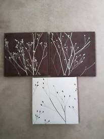 Set of 3 wall swade pictures