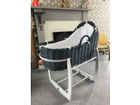 Mamma's and papas white star Moses basket EXCELLENT CONDITION