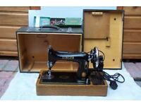 SINGER Vintage Singer 99K Sewing Machine with Electric Light, Accessories, Instruction Manual & Box