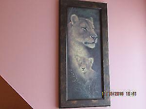 Beautiful Lions wooden print