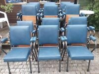 Row of 8 x 1950s Vintage Cinema Chairs / Seats - Retro Vintage Industrial Stacking