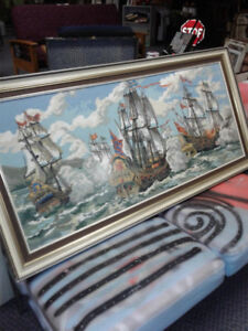 51 x 25  Needlepoint Fighting Ships on the Sea  Framed- Save$$$$