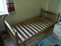 Pinewood single bed + mattress (can be sold separately)