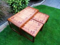1970's Teak Tiles Retro Tables , Nest of 3 Coffee Tables tiled 70s Vintage VGC