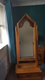 Solid pine cheval mirror from the marcus range (gothic style)