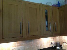 Wooden B & Q kitchen assorted units.