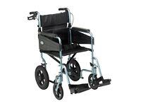 New Days Escape Lite Attendant Propelled Lightweight Aluminium Wheelchair Silver