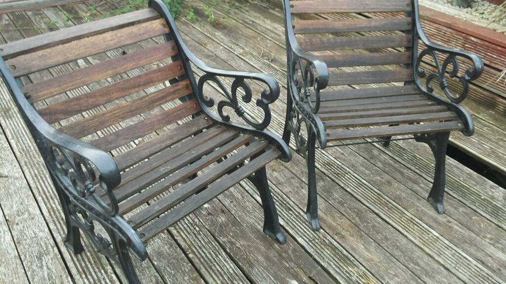 2 strong bench style garden chairs..large..gd condition