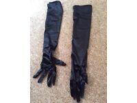 Ladies long, black satin evening gloves. New