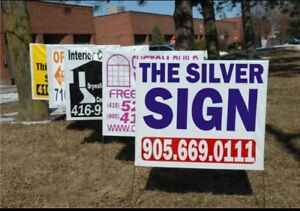 Thesilversign.com 100 lawn bag signs 220$