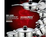 New cookware - SW-16SS SWISSLINE SWITZERLAND 16PC QUALITY STAINLESS STEEL COOK